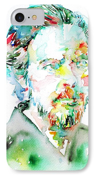 Alan Watts Watercolor Portrait IPhone Case by Fabrizio Cassetta