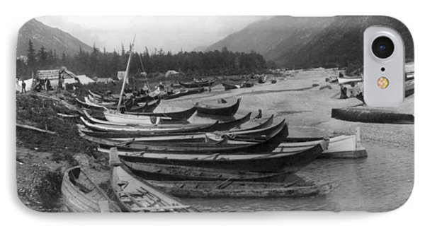 IPhone Case featuring the photograph Alaska Canoes, C1897 by Granger