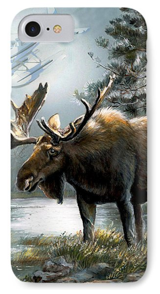 Alaska Moose With Floatplane IPhone Case by Regina Femrite