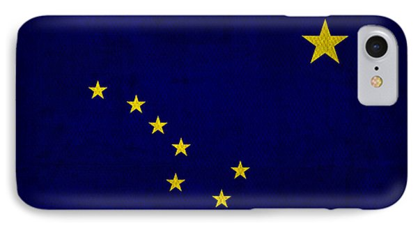 Alaska State Flag Art On Worn Canvas IPhone Case by Design Turnpike