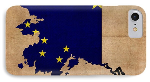 Alaska State Flag Map Outline With Founding Date On Worn Parchment Background IPhone Case by Design Turnpike