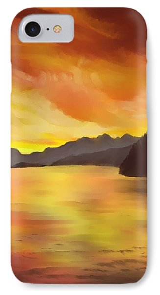 IPhone Case featuring the painting Alaska Sunset by Terry Frederick