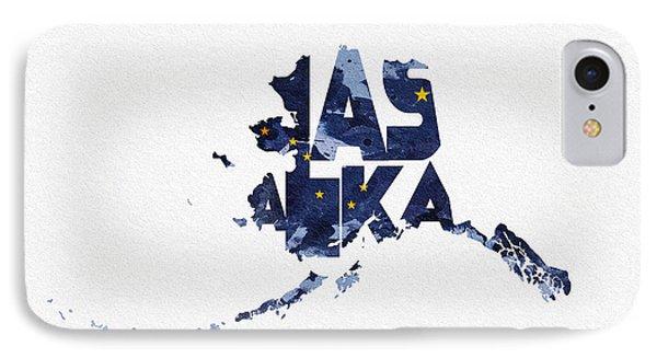 Alaska Typographic Map Flag IPhone Case by Ayse Deniz