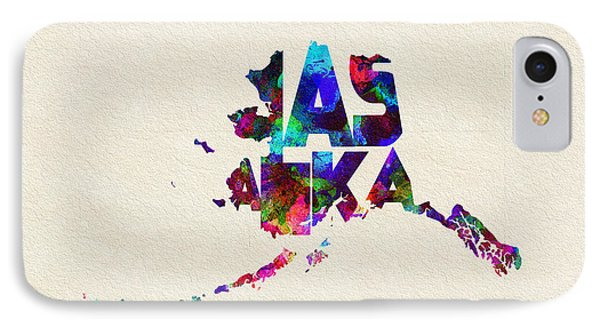 Alaska Typographic Watercolor Map IPhone Case by Ayse Deniz