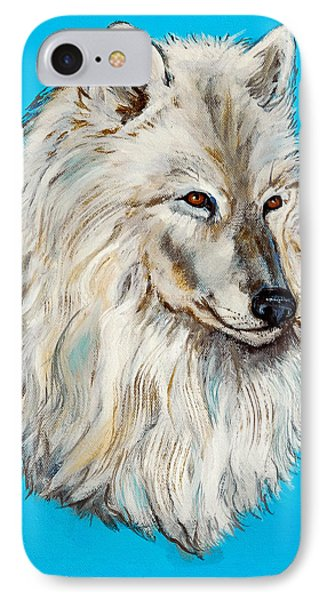 IPhone Case featuring the painting Alaska White Wolf by Bob and Nadine Johnston