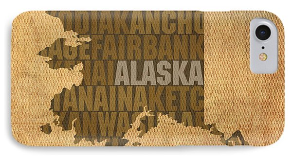 Alaska Word Art State Map On Canvas IPhone Case by Design Turnpike