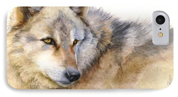 IPhone Case featuring the painting Alaskan Gray Wolf by Bonnie Rinier