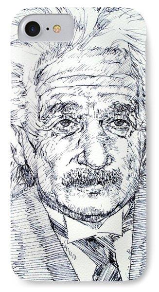 Albert Einstein - Drawing Portrait Phone Case by Fabrizio Cassetta