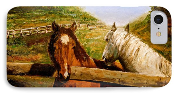 IPhone Case featuring the painting Alberta Horse Farm by Sher Nasser