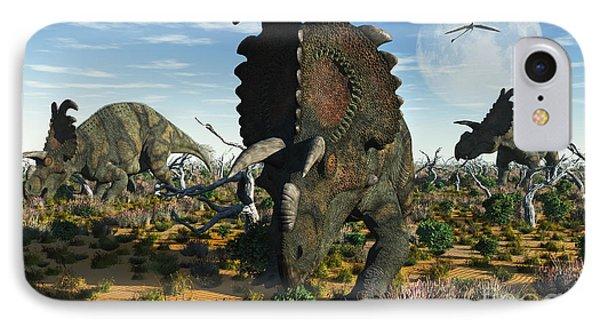 Albertaceratops Dinosaurs Grazing Phone Case by Mark Stevenson