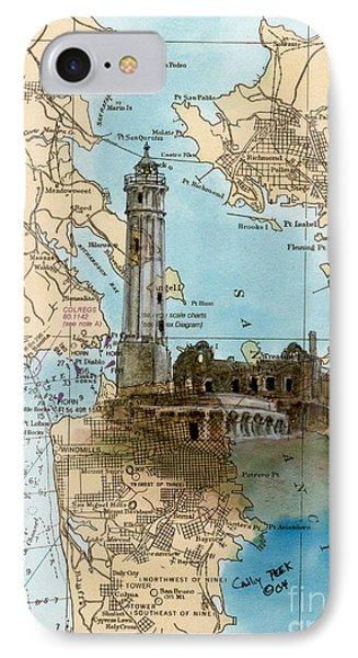 Alcatraz Island Lighthouse Ca Nautical Chart Map Art IPhone Case by Cathy Peek