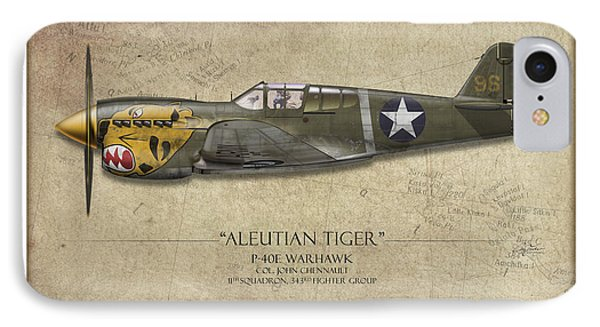 Aleutian Tiger P-40 Warhawk - Map Background IPhone Case