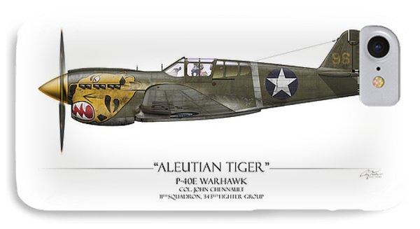 Aleutian Tiger P-40 Warhawk - White Background IPhone Case by Craig Tinder