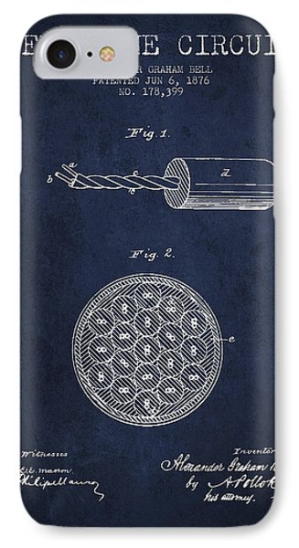 Alexander Graham Bell Telephone Circuit Patent From 1876 - Navy  IPhone Case by Aged Pixel