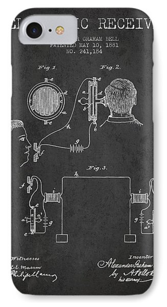Alexander Graham Bell Telephonic Receiver Patent From 1881- Dark IPhone Case by Aged Pixel