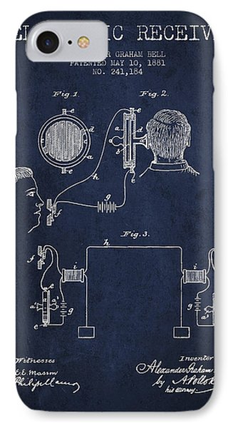 Alexander Graham Bell Telephonic Receiver Patent From 1881- Navy IPhone Case by Aged Pixel