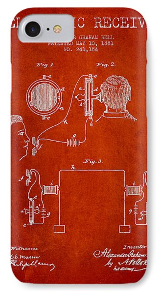 Alexander Graham Bell Telephonic Receiver Patent From 1881- Red IPhone Case by Aged Pixel