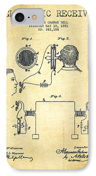 Alexander Graham Bell Telephonic Receiver Patent From 1881- Vint IPhone Case by Aged Pixel