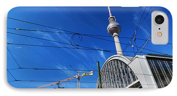 Alexanderplatz Sign And Television Tower Berlin Germany IPhone Case by Michal Bednarek