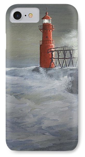 Algoma Pierhead Light IPhone Case by Jerry McElroy