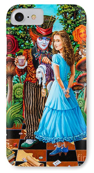 IPhone Case featuring the painting Alice And Mad Hatter. Part 2 by Igor Postash