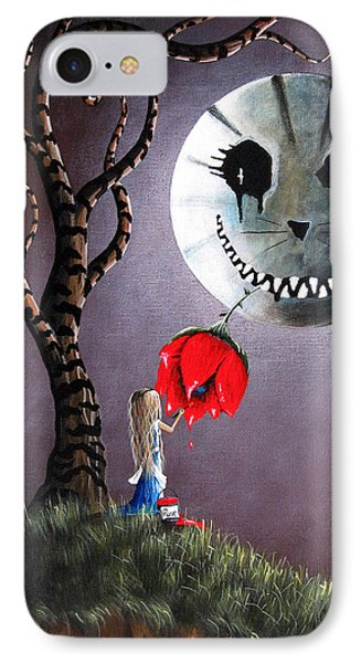 Alice In Wonderland Original Artwork - Alice And The Dripping Rose IPhone Case by Shawna Erback