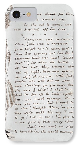 Alice Eats Cake And Grows Tall IPhone Case by British Library