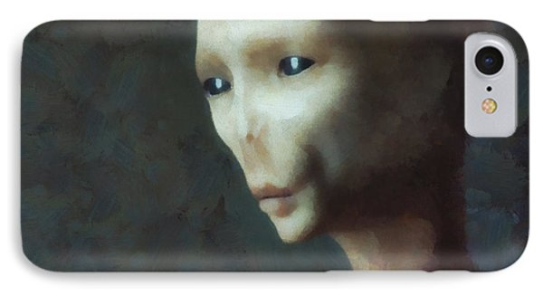Alien Grey Thoughtful  IPhone Case by Pixel Chimp