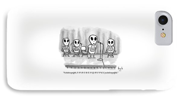 Aliens Participating In A Spelling Bee IPhone Case by Bob Eckstein