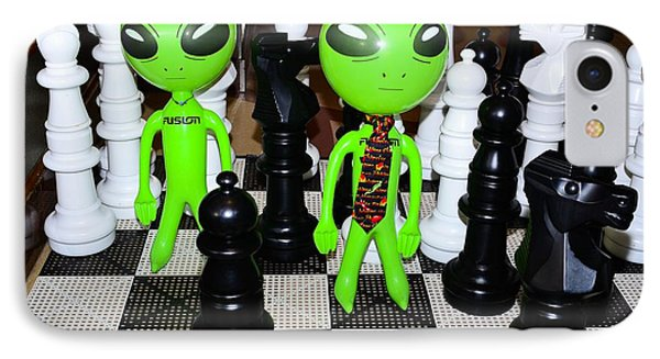 Aliens Playing Chess IPhone Case by Richard Henne