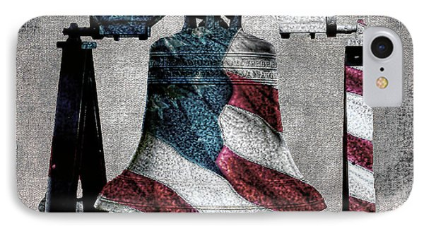 All American Liberty Bell Art_denim IPhone Case by Lesa Fine