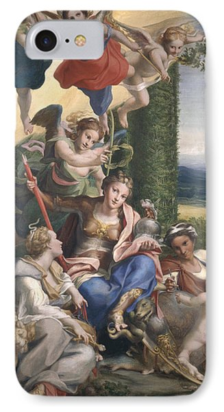 Allegory Of The Virtues, C.1529-30 Tempera On Canvas IPhone Case