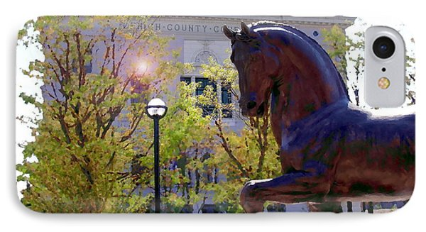 Allentown Pa Old Lehigh County Courthouse And Davinci Horse  IPhone Case by Jacqueline M Lewis
