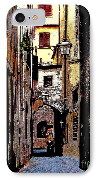 IPhone Case featuring the digital art Alley In Florence 2 Digitized by Jennie Breeze