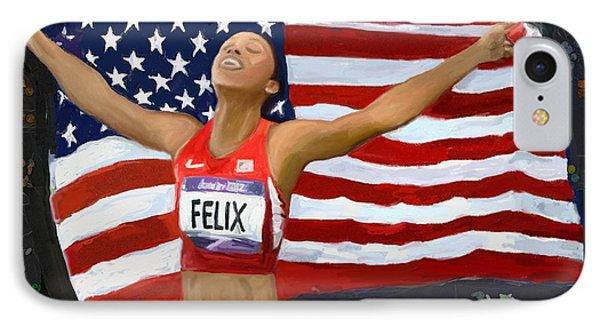 Allison Felix Olympian Gold Metalist IPhone Case by Vannetta Ferguson