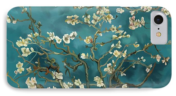 IPhone Case featuring the painting Almond Blossoms' Reproduction by Tim Gilliland