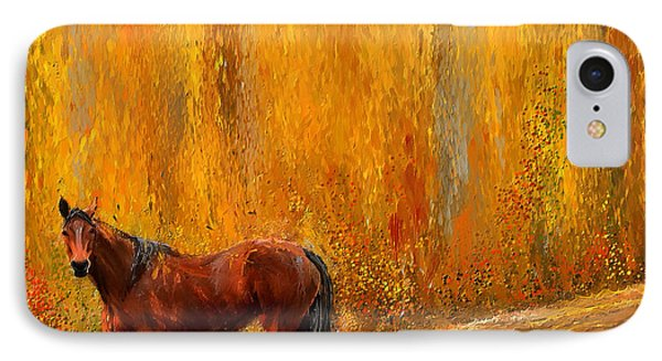 Alone In Grandeur- Bay Horse Paintings IPhone Case