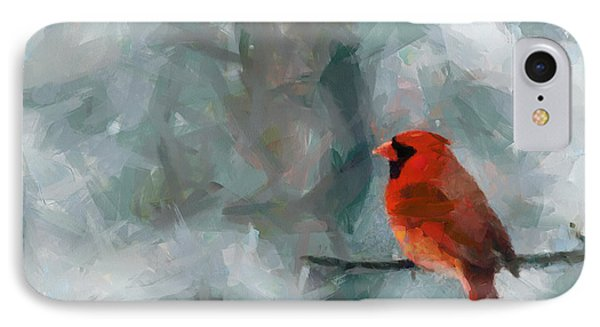 Alone Red Bird IPhone Case by Georgi Dimitrov