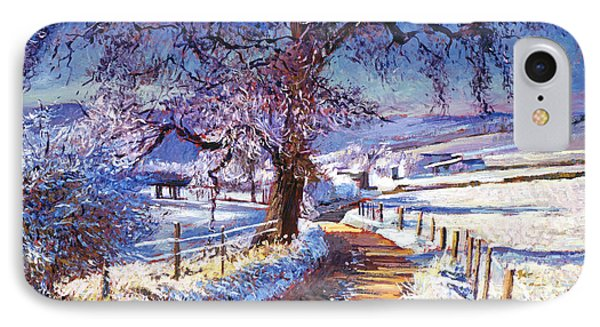 Along The Snow Lined Road IPhone Case by David Lloyd Glover