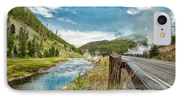Along The Volcanic Yellowstone Road IPhone Case by Andres Leon