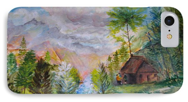 IPhone Case featuring the painting Alpine Landscape by Egidio Graziani