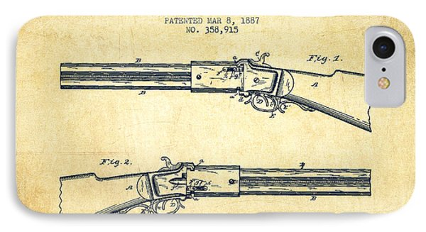 Alston Firearm Patent Drawing From 1887- Vintage IPhone Case by Aged Pixel