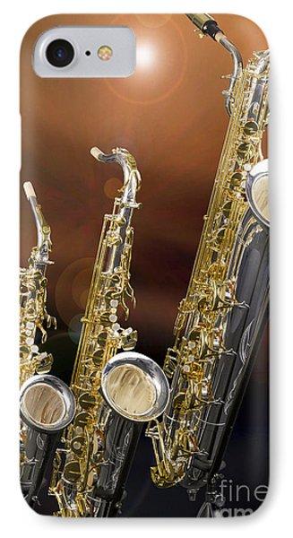 Alto Tenor Baritone Saxophone Photo In Color 3461.02 IPhone Case by M K  Miller