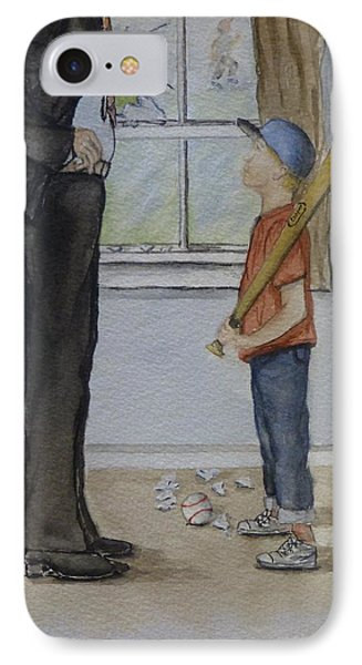 IPhone Case featuring the painting Am I In Trouble Dad... Broken Window by Kelly Mills