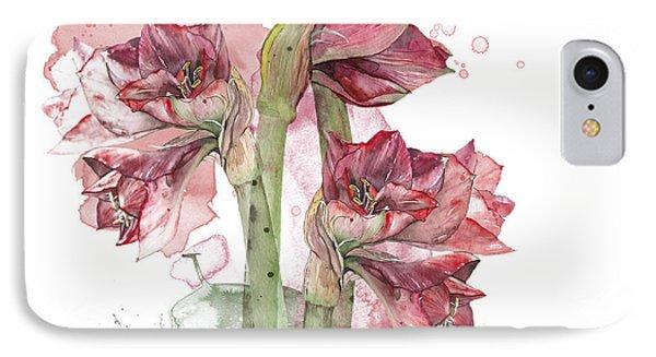IPhone Case featuring the painting Amaryllis Flowers - 3. - Elena Yakubovich by Elena Yakubovich