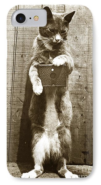 IPhone Case featuring the photograph Amateur Feline Fotografer Cat With A Box Camera  Historical Photo 1900 by California Views Mr Pat Hathaway Archives