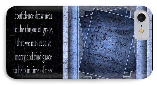 Amazing Grace In Blue With Scripture IPhone Case by Julie Dant