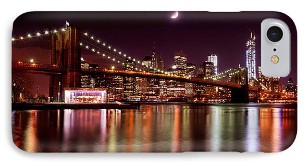 IPhone Case featuring the photograph Amazing New York Skyline And Brooklyn Bridge With Moon Rising by Mitchell R Grosky