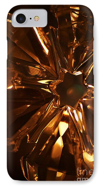 IPhone Case featuring the photograph Amber Crystal Snowflake by Linda Shafer