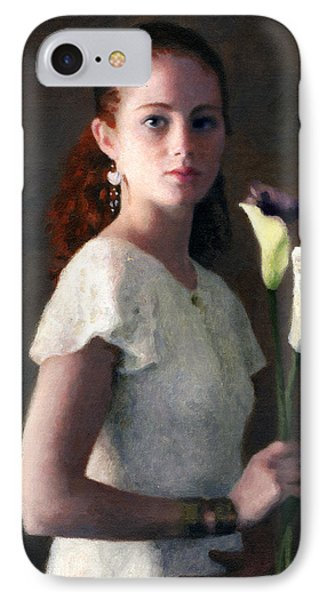 Amber With Lilies IPhone Case by Charles Pompilius